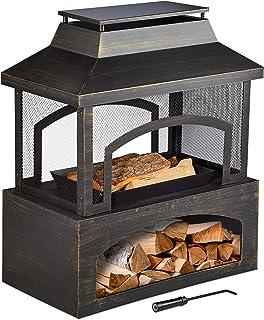 Relaxdays Gartenkamin Stahl, Terrassenofen mit Schürhaken, Garten & Terrasse, Feuerstelle, HBT: 98 x 82 x 45 cm, schwarz