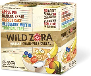 Wild Zora Instant Grain Free Hot Cereal - Variety Pack - Oatmeal Substitute, Vegan Breakfast, No Sugar Added, Gluten Free ...