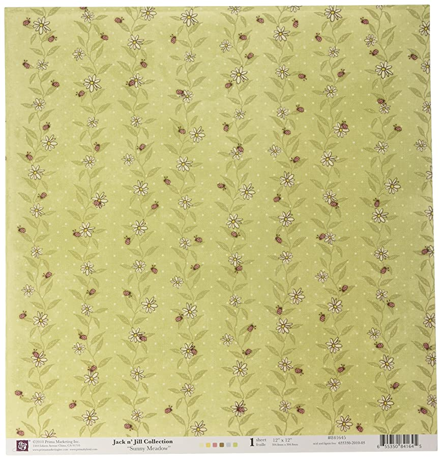 Prima 841645 12 by 12-Inch Jack 'n Jill Double-Sided Cardstock Paper, Sunny Meadow, 10-Pack