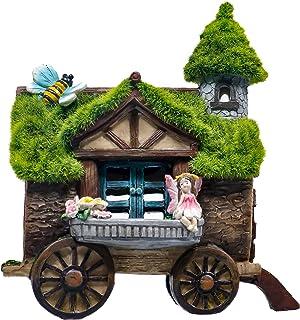 TERESA'S COLLECTIONS 8.3 Inch Flocked Wagon Garden House Statue, Solar Powered Garden Lights Fairy Garden Figurines Cottag...