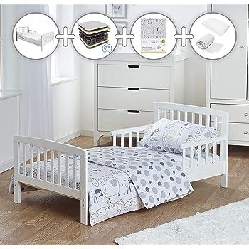 GREY Junior Toddler Bed /& Deluxe sprung Mattress Poppys Playground Eve