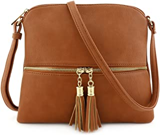 Lightweight Medium Crossbody Bag with Tassel