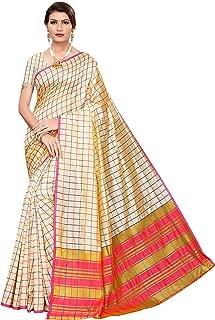 GoSriKi Women's Art Silk Blend Checks Saree With Blouse Piece(Free Size)