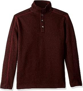 Men's Sweater Fleece Long Sleeve 1/4 Button Mock Neck