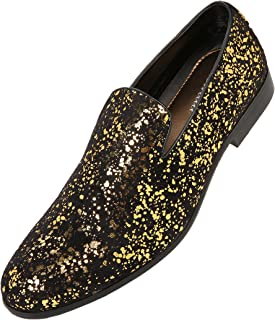 4f5d3701be074 Amali Mens Metallic and Studded Smoking Slipper Loafer Dress Shoes