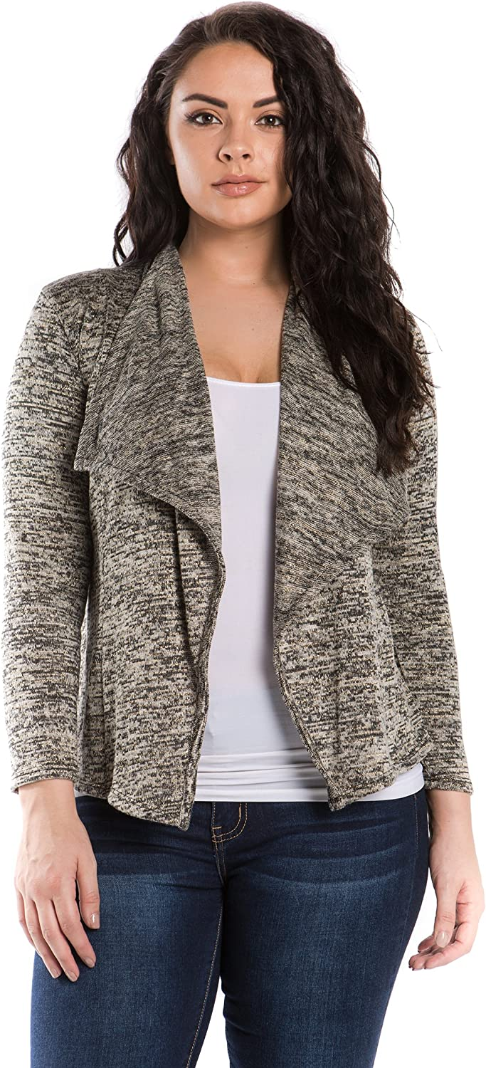 Bubble B Women's Open Front Lurex Two Tone Knit Cardigan