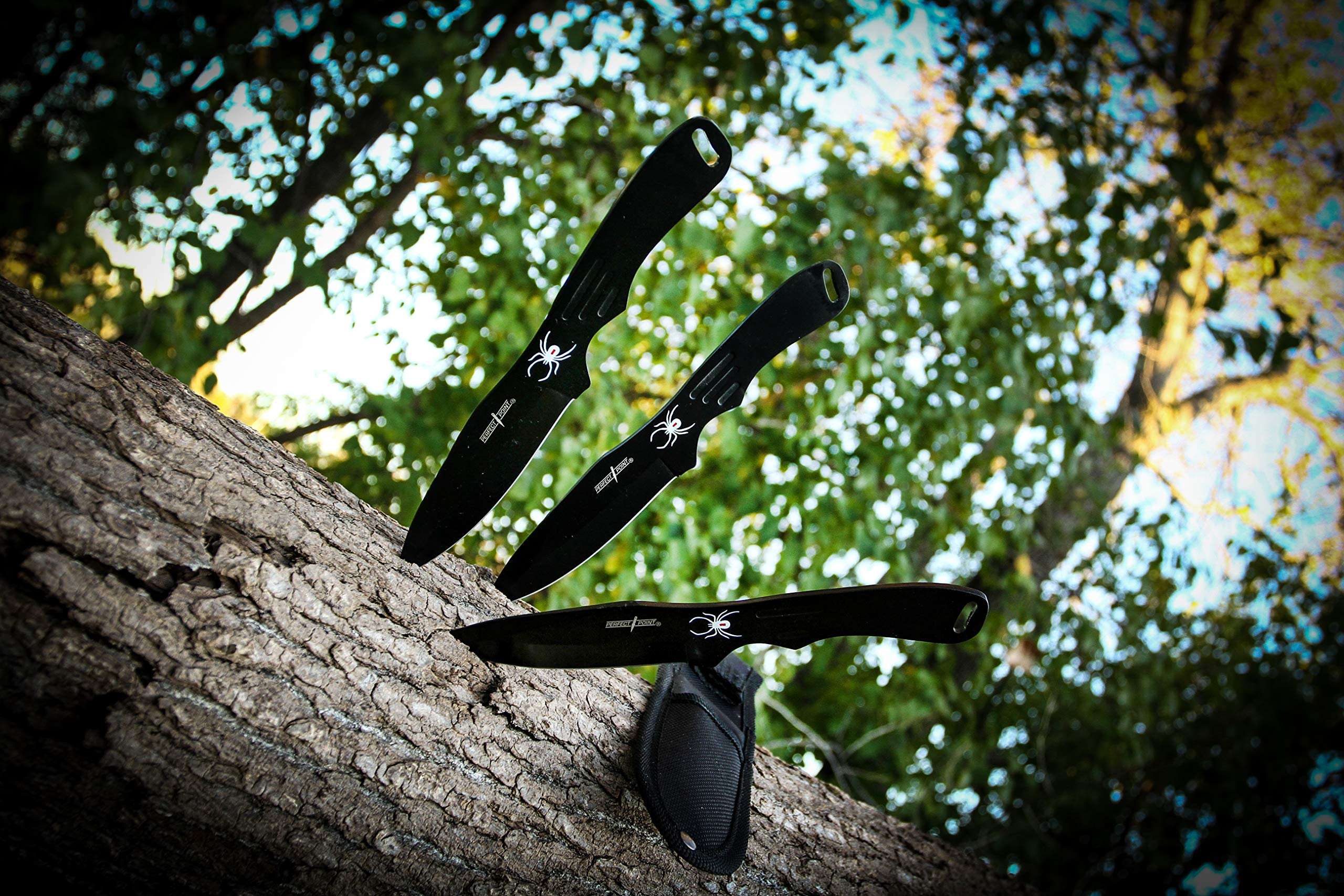 BladesUSA Perfect Point RC-1793B Throwing Knife Set with Three Knives, Black Blades, Steel Handles, 8-Inch Overall
