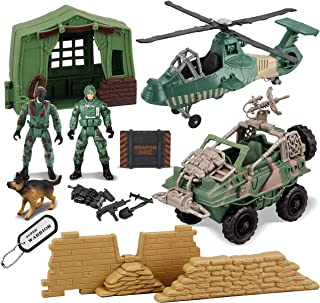 JOYIN 9 Pcs Military Toys Army Men Action Figures Play Set with Realistic Military Camp, Military Vehicle, Helicopter, Military Toy Soldiers Action Figures and Gear Accessories