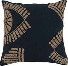 """Saro Lifestyle Dinah Collection Eye Embroidered Throw Pillow With Poly Filling, 20"""", Black"""