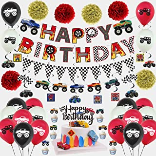54PCS Monster Truck-Themed Birthday Party Supplies, Including Racing Alphabet Banners, Triangular Flags, Hanging Spiral Or...