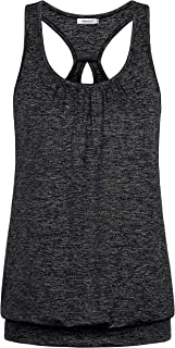Womens Scoop Neck Sleeveless Loose Fit Sport Racerback Workout Tank Top