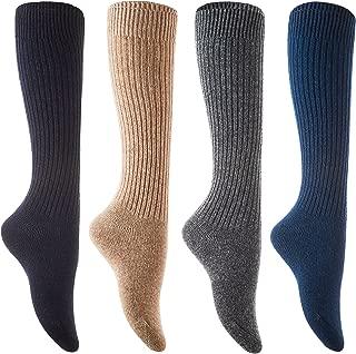Non Slip Women's 4 Pairs Knee High Wool Crew Socks FS05 Size 6-9