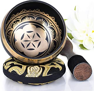 Silent Mind ~ Tibetan Singing Bowl Set ~ Power and Strength Design ~ With Dual Surface Mallet and Silk Cushion ~ Promotes Peace, Chakra Healing, and Mindfulness ~ Exquisite Gift