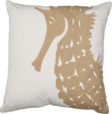 """North End Decor Tan Seahorse Chain Stitch Decorative Throw 18x18 (Insert Included) Pillow, 18"""" x 18"""""""