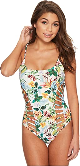 Red Carter Martinique Strappy Side Cut-Out Maillot