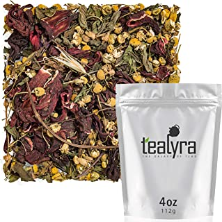 Tealyra - Soothing Trio - Chamomile - Spearmint - Hibiscus - Herbal Loose Leaf Tea - Relaxing and Calming - Caffeine-Free - 100% Natural - 112g (4-ounce)