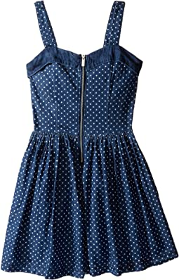 Polka Dot Denim Dress w/ Tulle (Little Kids/Big Kids)