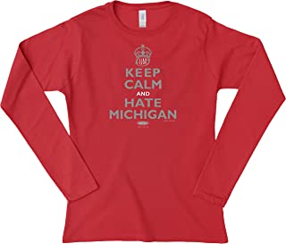 Smack Apparel Ohio State Football Fans. Keep Calm and Hate Michigan Red Ladies Shirt (Xs-3x)
