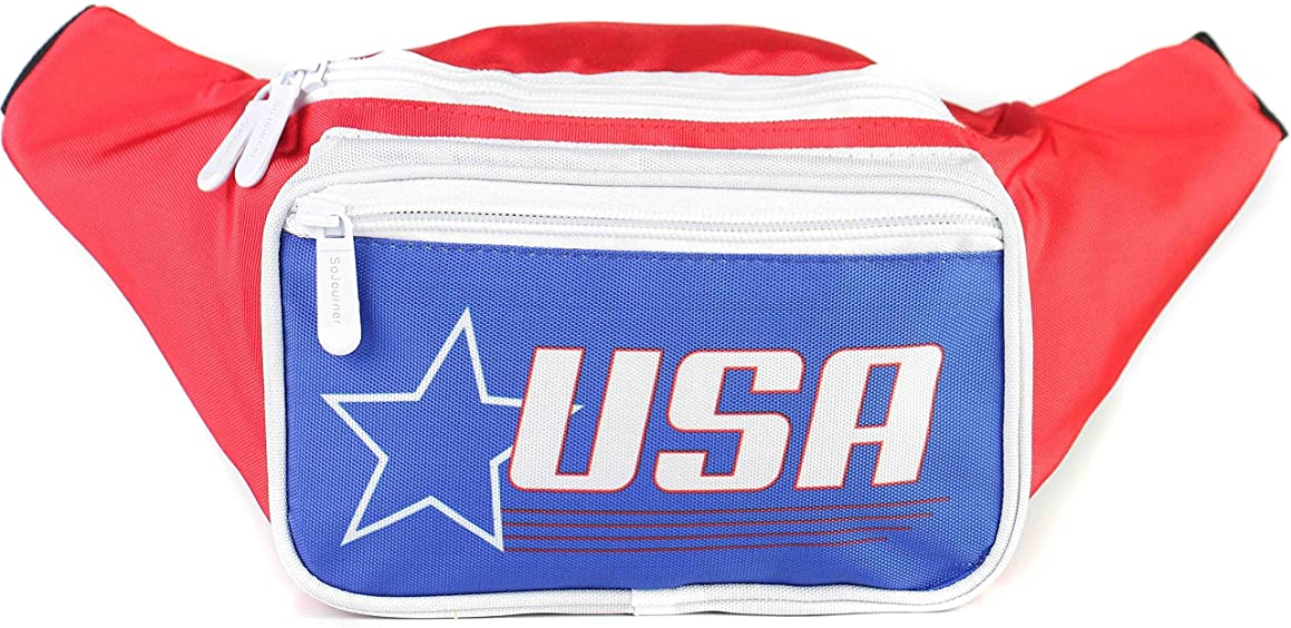 Sojourner USA Fanny Pack - American Flag Packs, 4th of July, Stars and Stripes, Red White, and Blue Waist Bag Belt Bags