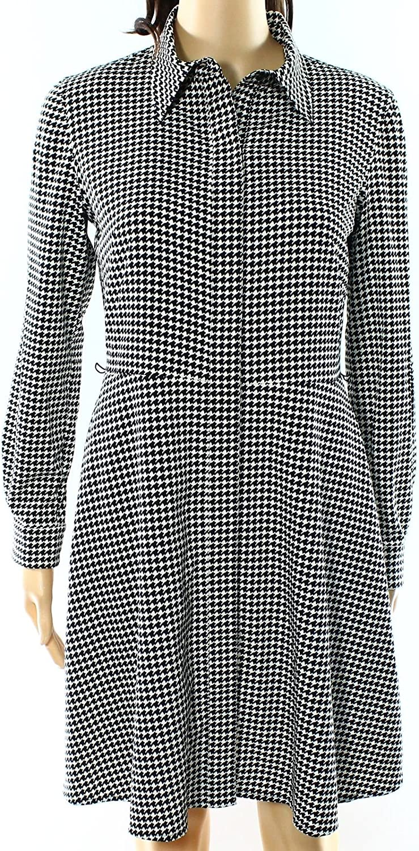 Lauren Ralph Lauren Womens Petites ButtonDown Houndstooth Shirtdress