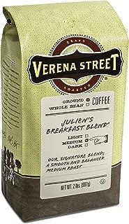 Verena Street 2 Pound Ground Coffee, Medium Roast, Julien's Breakfast Blend, Rainforest Alliance Certified Arabica Coffee