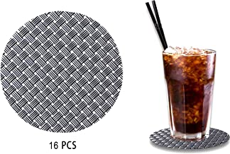 FO&OSOBEIT Coaster Set - Protect Furniture from Water Marks & Damage, Modern, Thin, Leakproof & Non Slip - Set of 16 Premium Quality Woven PVC Drink Coasters