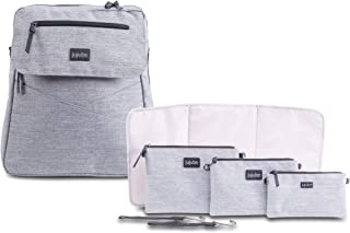 JuJuBe Diaper Bag Backpack + Messenger Bag | 4-in1 Core Convertible Bundle | Durable, Stylish, Travel Friendly, Multi Functional, Insulated Bottle Pockets + Changing Pad Included | Glacier Grey