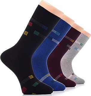 Hugh Ugoli Men's Dress Socks Bamboo Seamless Toe Soft Funky Business Thin Crew Socks.