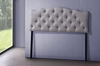 Baxton Studio Wholesale Interiors Rita Modern and Contemporary Fabric Upholstered Button-Tufted Scalloped Headboard, Full, Light Beige
