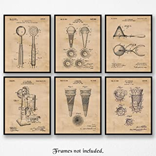 Original Ice Cream Patent Art Poster Prints, Set of 6 (8x10) Unframed Photos, Great Wall Art Decor Gifts Under 20 for Home, Office, Kitchen, Shop, Studio, Student, Teacher, Cooking & Culinary Fan