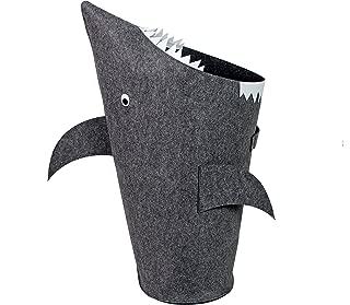 Bins & Things Shark Kids Laundry Hamper | Toy Organizer Basket | Baby Clothes Nursery Basket with Handles - Real Shark Look with Teeth, Fins, Eyes