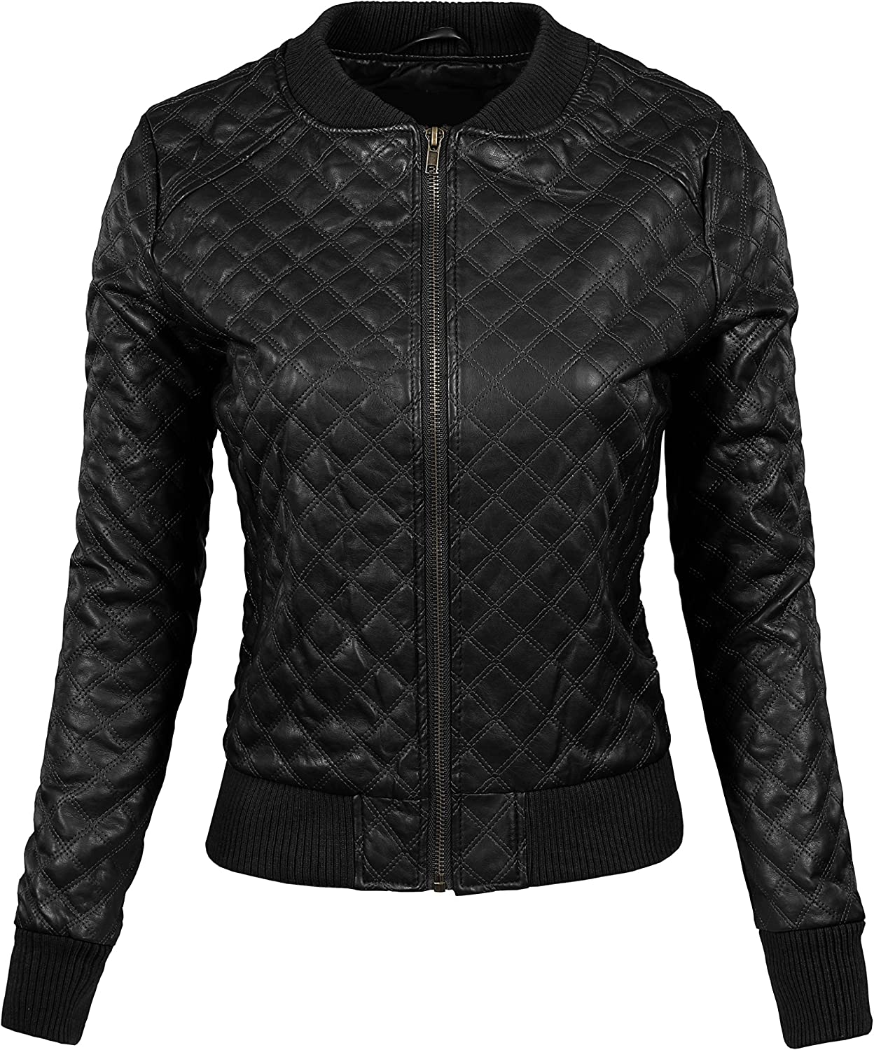 BEKTOME Womens Quilted Stitch Faux Leather Moto Varsity Bomber Zip Up Jacket