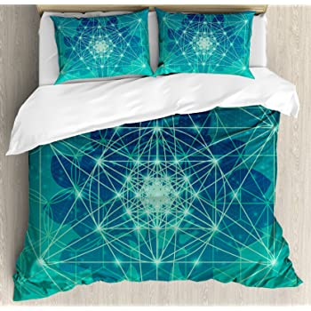Amazon Com Ambesonne Geometry Duvet Cover Set Chakra Points In Vintage Concentric Rings Of Partial Circle Theme Image Decorative 3 Piece Bedding Set With 2 Pillow Shams Queen Size White Grey Kitchen