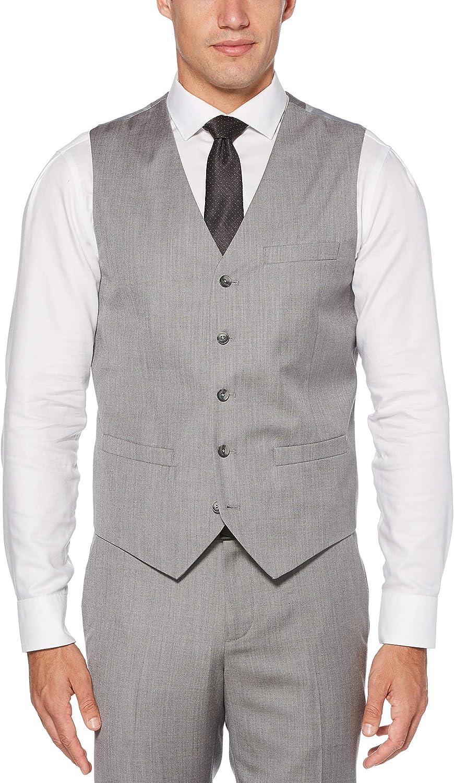Perry Ellis Men's Slim Fit Stretch Herringbone Suit Vest, Brushed Nickel, XX Large