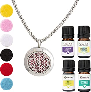 Wrought Iron Essential Oil Diffuser Necklace Stainless Steel Locket Pendant with 24 Chain+ 4 Essential Oils (Lavender, Peppermint, Inner Calm, Zen) Gift Set
