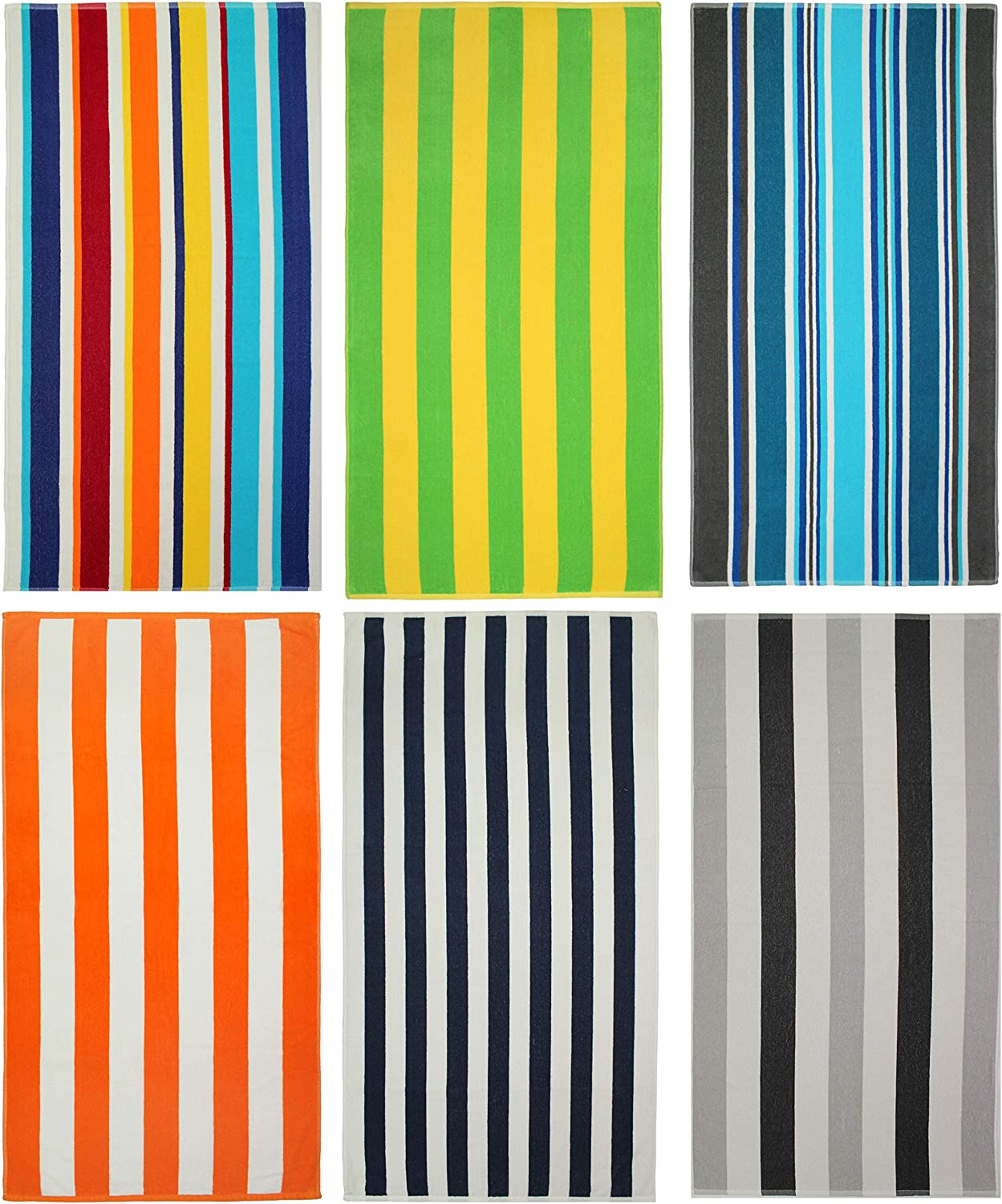 COTTON CRAFT Seaside Set of 6 Cotton Terry Beach and Pool Towels
