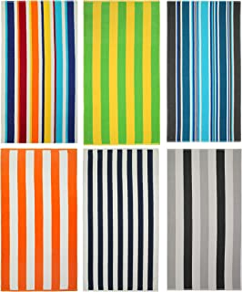 COTTON CRAFT Seaside Set of 6 Cotton Terry Beach and Pool Towels, Family Pack, 30 inch x 60 inch, Assorted