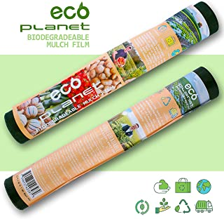 EcoPlanet Bio-degradable Agricultural Plasticulture Black Plastic Mulch Film Gardening Farming Film Weed Barrier (Type A) (1 Mil, 2.7 feet x 50 feet)