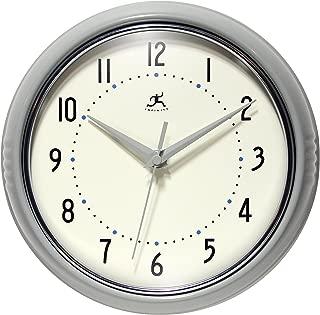 Infinity Instruments Grey Decorative Retro Wall Clock | 9.5 inch Classic Retro Clock | Made from Real Aluminum Metal | Silent Non-Ticking Quiet Quartz Movement