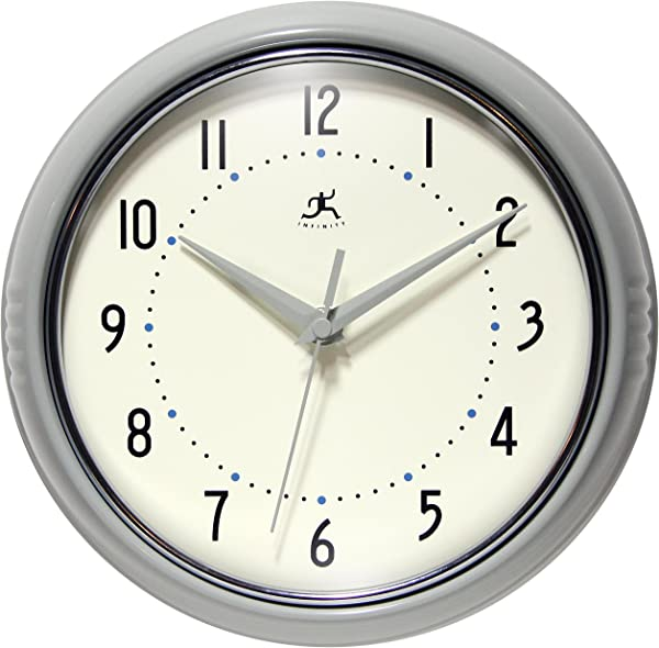 Infinity Instruments Grey Decorative Retro Wall Clock 9 5 Inch Classic Retro Clock Made From Real Aluminum Metal Silent Non Ticking Quiet Quartz Movement