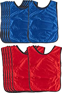 Scrimmage Vests - 12-Pack Soccer Pinnies, Team Jersey, Training Vest, for Children Youth Kids Adults, for Basketball, Soccer, Football, Volleyball, Red and Blue