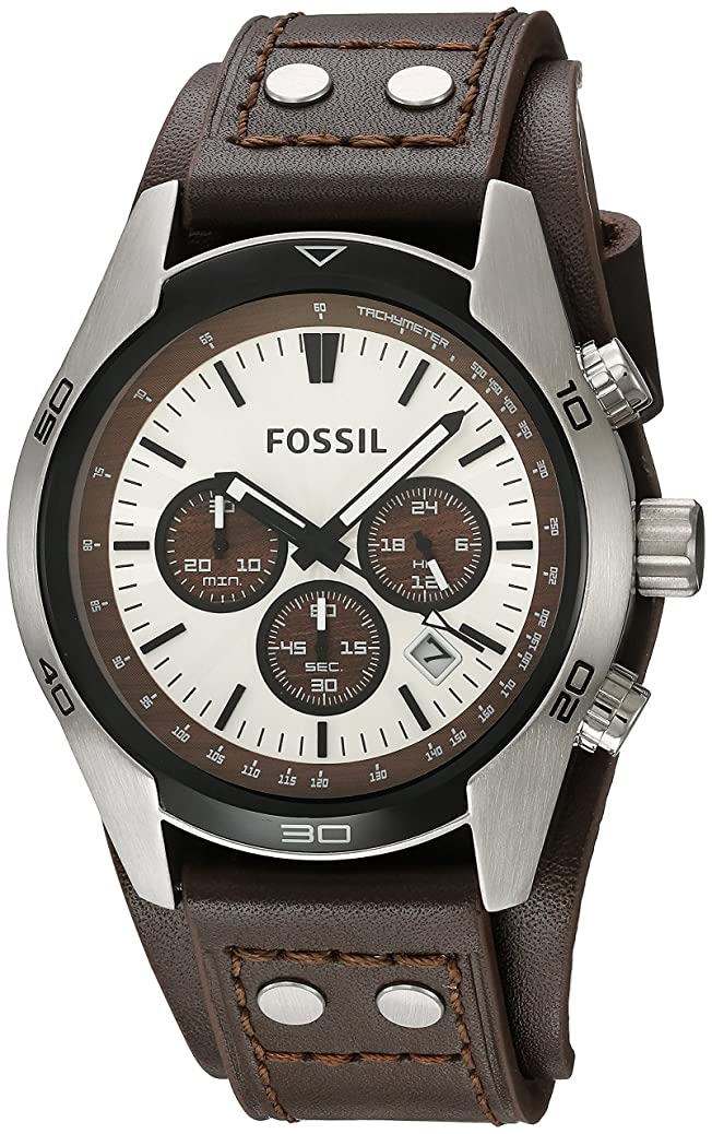 Fossil Men's Coachman Quartz Stainless Steel and Leather Casual Cuff Watch zxla2045546594