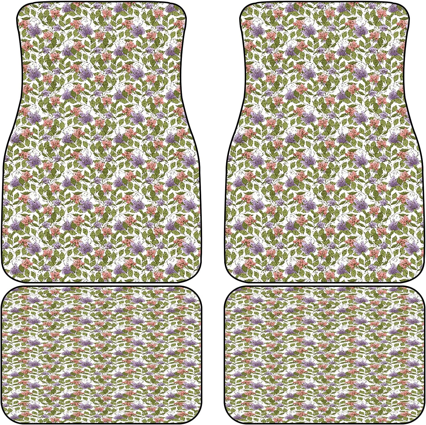 VINISATH Front supreme Rear Car Mats Set Purple of Pink 4 Discount mail order Flower with