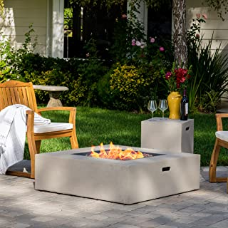 Hearth 50K BTU Outdoor Gas Fire Pit Table with Tank Holder (Square, Light Grey)