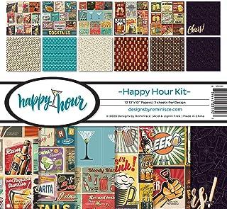 Reminisce Happy Hour Collection Scrapbook Kit Paper Crafts, Multi Color Palette