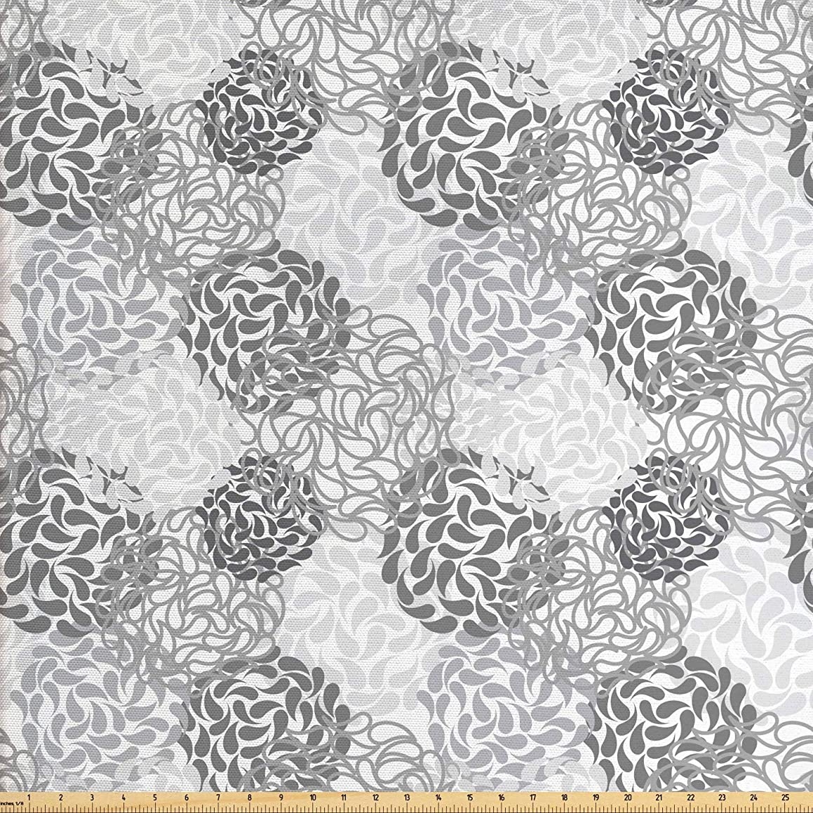 Lunarable Floral Fabric by The Yard, Mixed Florets Pattern Abstract Buds Flourishing Blooms Artistic Design, Decorative Fabric for Upholstery and Home Accents, 2 Yards, Charcoal Grey White