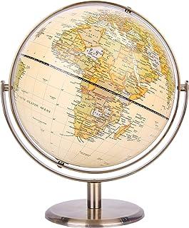 Exerz 20 cm wereldbol Antieke wereldbol Metalen boog en voet Gebronsde kleur - Alle richtingen 360 ° roterend - Educatief...