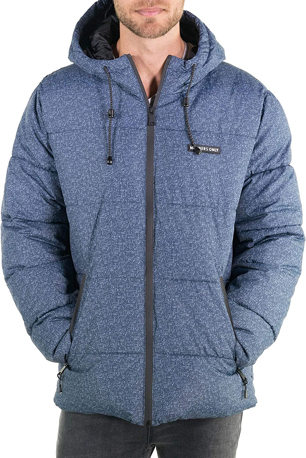 55% OFF Members Only Men's Heather Popular standard Print Jacket with Puffer Hood