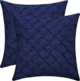 The White Petals Navy Blue Cushion Covers (Faux Silk, Pinch Pleat, 16x16 inch, Pack of 2)
