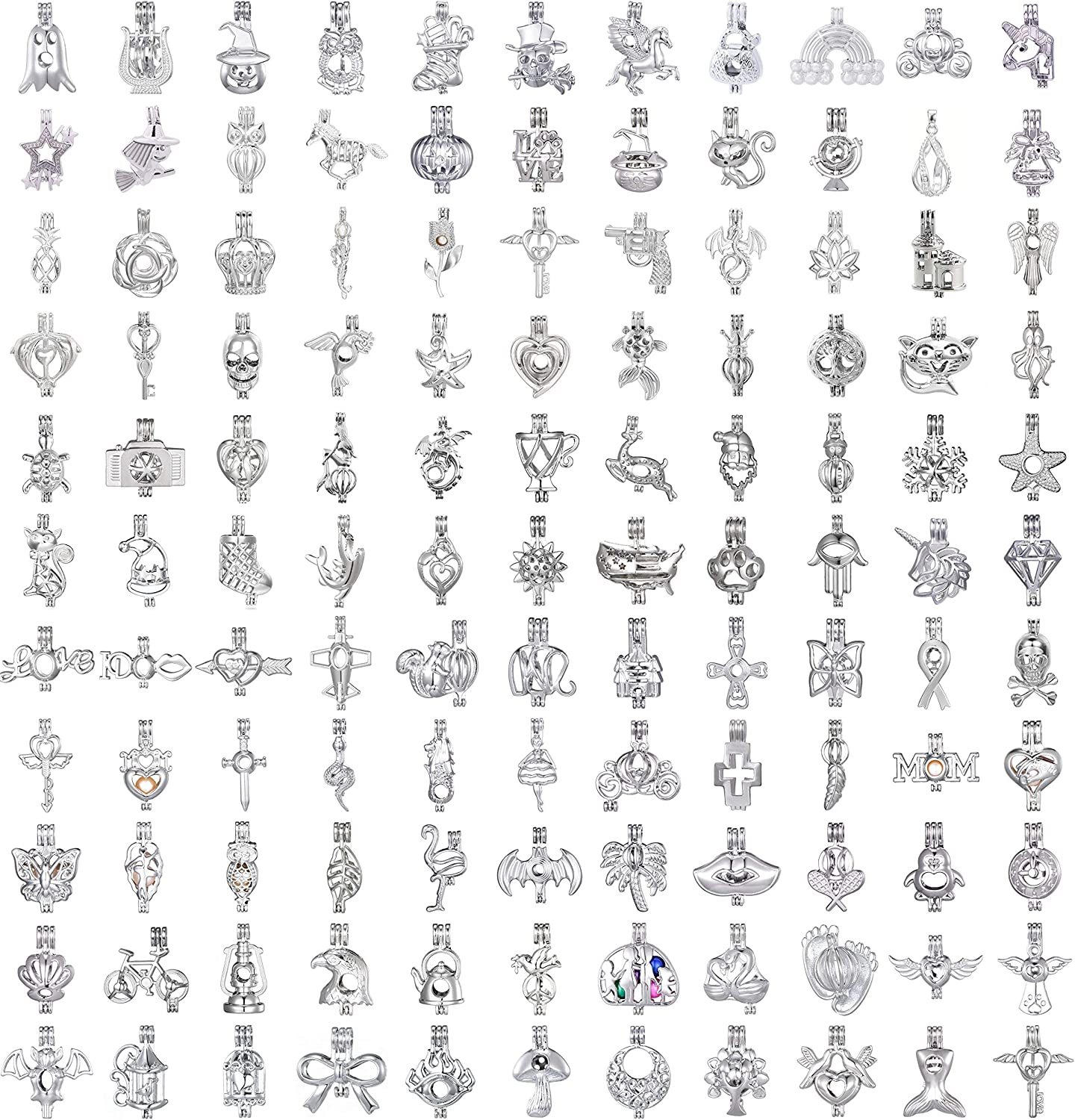 40pcs Mix Stainless Max 78% OFF Steel Tones Alloy Bead Time sale Pendant Lav Cage Wish